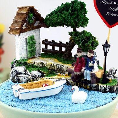 Kişiye Özel Romantik Aşıklar Minyatür Bahçe - Thumbnail