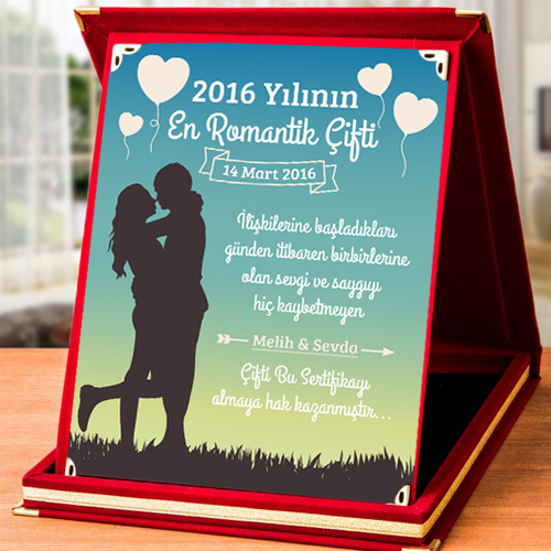 Kişiye Özel Romantik Aşkım Plaketi