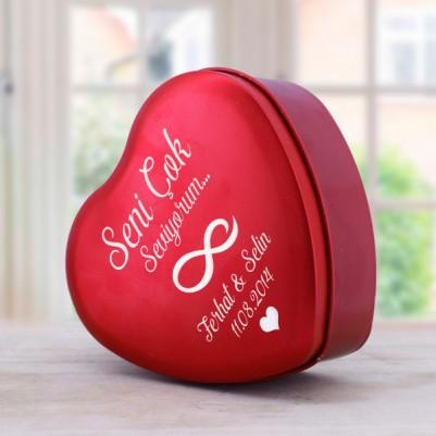 Kişiye Özel Romantik Kalp Hediye Kutusu - Thumbnail