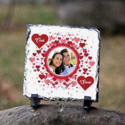 - Kişiye Özel Romantik Kalpler Kare Taş Baskı