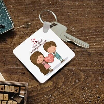 Kişiye Özel Romantik Tasarımlı Anahtarlık - Thumbnail