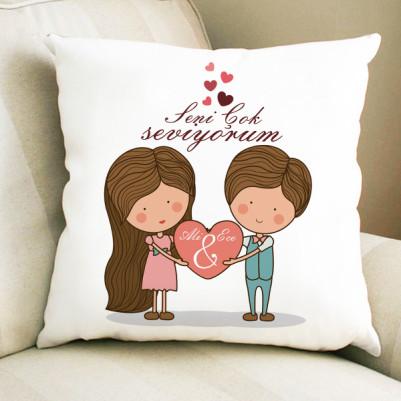 - Kişiye Özel Romantik Tasarımlı Yastık