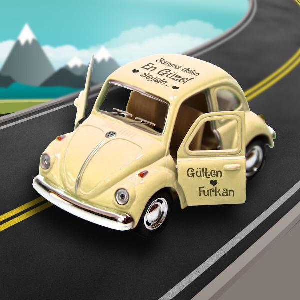 Kişiye Özel Sarı Vosvos Oyuncak Araba