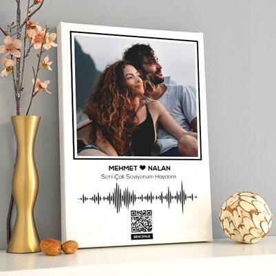 Kişiye Özel Ses İzi Fotoğraflı Kanvas Tablo - Thumbnail