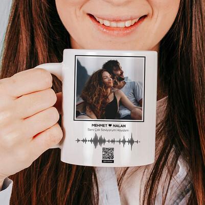 Kişiye Özel Ses İzi Fotoğraflı Kupa Bardak - Thumbnail