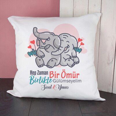 - Kişiye Özel Sevimli Filler Kare Yastık