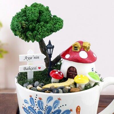 Kişiye Özel Şirinler Evi Minyatür Bahçe - Thumbnail