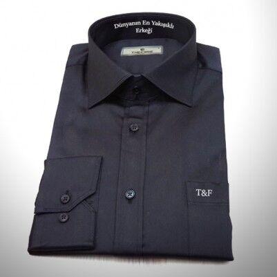 Kişiye Özel Siyah Erkek Gömleği - Thumbnail