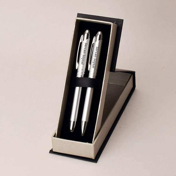 Kişiye Özel Gümüş Gri İkili Kalem