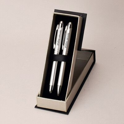 - Kişiye Özel Gümüş Gri İkili Kalem