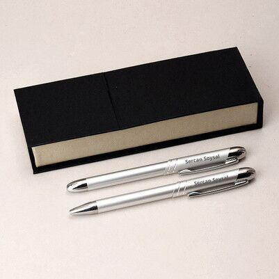 Kişiye Özel Gümüş Gri İkili Kalem - Thumbnail