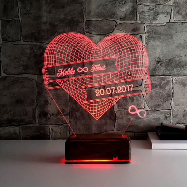 Kişiye Özel Sonsuz Aşk 3D LED Lamba