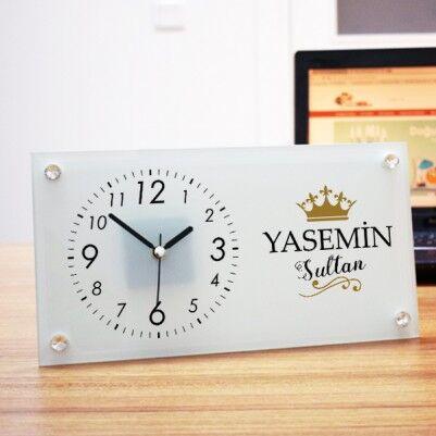 - Kişiye Özel Sultanım Cam Masa Saati