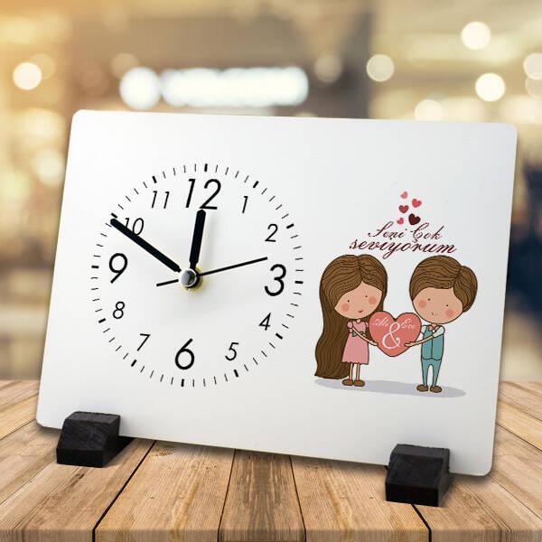 Kişiye Özel Tasarım Romantik Masa Saati