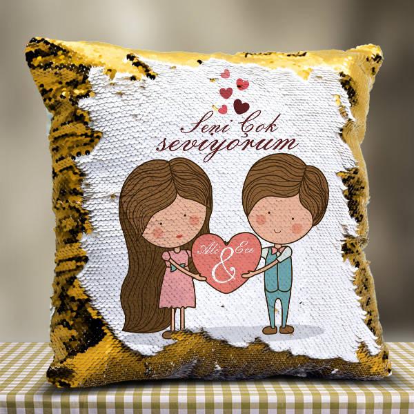 Kişiye Özel Tasarım Romantik Sihirli Yastık
