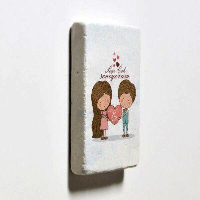 Kişiye Özel Tasarım Taş Buzdolabı Magneti - Thumbnail