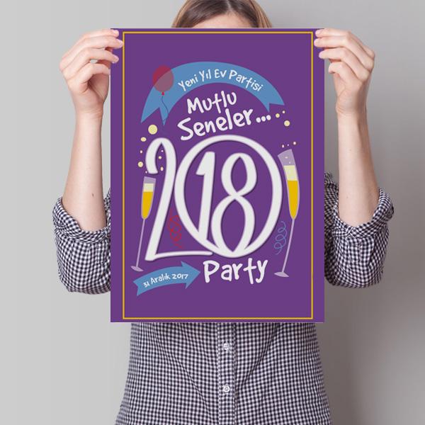 Kişiye Özel Yılbaşı Ev Partisi Posteri