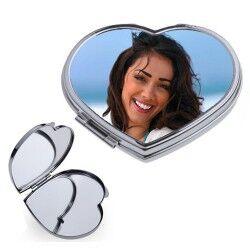Kişiye Özel Fotoğraf Baskılı Kalp Makyaj Aynası - Thumbnail