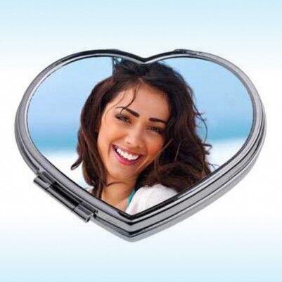 - Kişiye Özel Fotoğraf Baskılı Kalp Makyaj Aynası