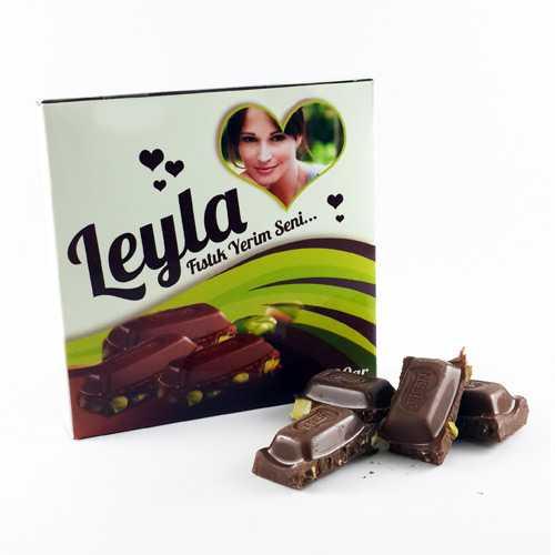 Kişiye Özel Fotoğraflı Fıstıklı Çikolata