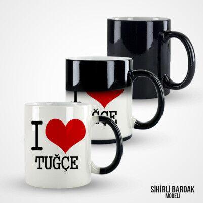 Kişiye Özel I Love You Kupa Bardak - Thumbnail