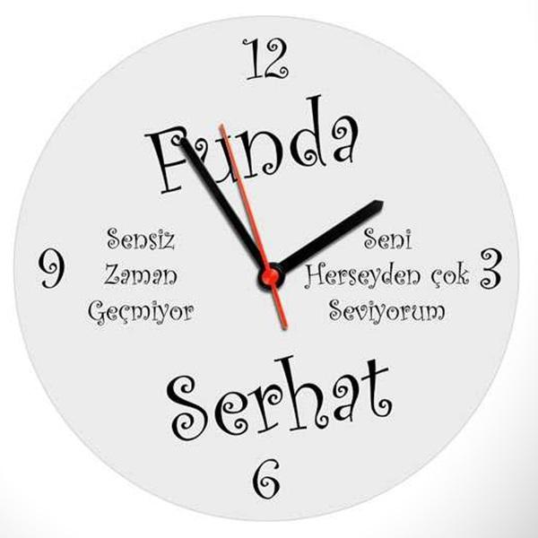 Kişiye Özel İsim ve Mesaj Yazılı Duvar Saati
