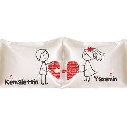 - Kişiye Özel Kalplerimiz Birleşsin 2'li Yastık