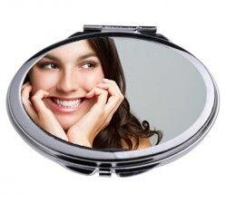 Kişiye Özel Oval Metal Makyaj Aynası - Thumbnail
