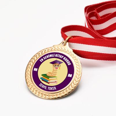 Kitap Kurdu Kişiye Özel Madalyon - Thumbnail