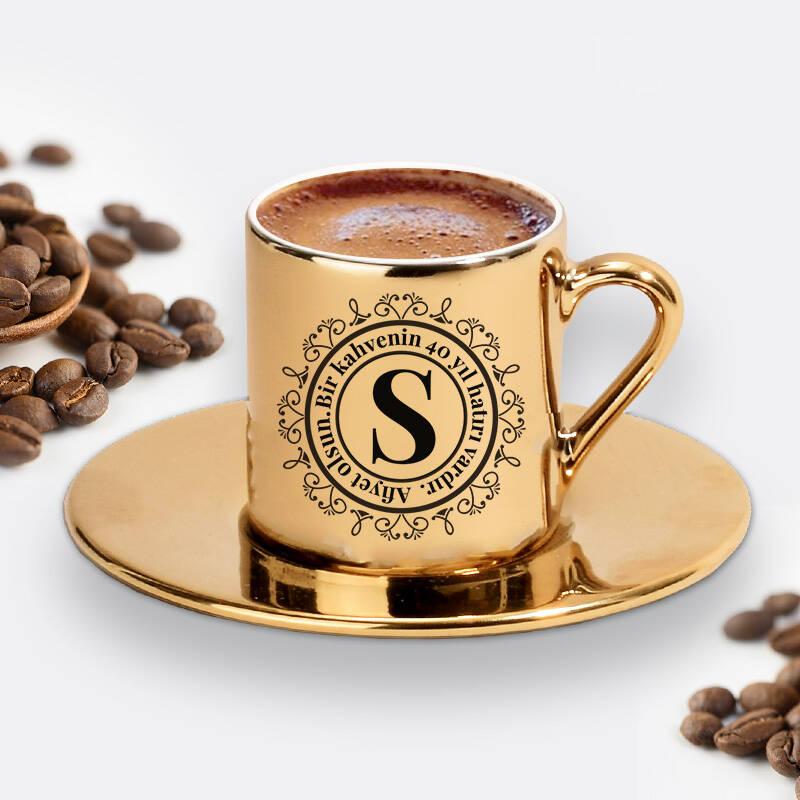 Kız Arkadaşa Hediye Gold Kahve Fincanı
