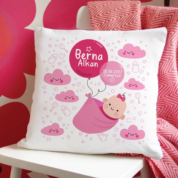 Kız Bebeğe İsme Özel Hediyelik Yastık