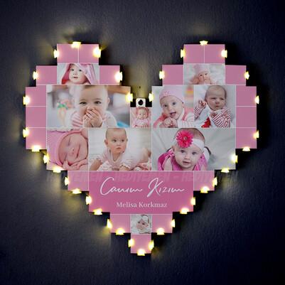 - Kız Bebeğe Özel Işıklı Kalp Pano
