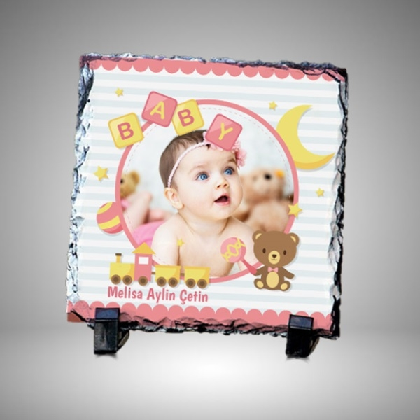 Kız Bebek Resimli Dekoratif Taş Baskı