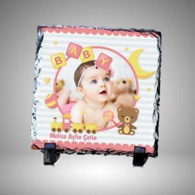 - Kız Bebek Resimli Dekoratif Taş Baskı