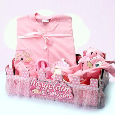 - Kız Bebeklere Özel Çit Kutulu Hediye Seti