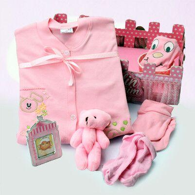 Kız Bebeklere Özel Çit Kutulu Hediye Seti - Thumbnail
