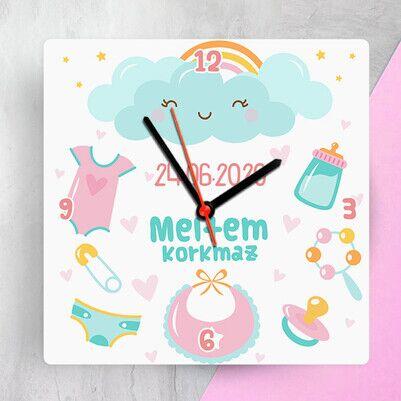 - Kız Bebekler İçin Tasarım Duvar Saati