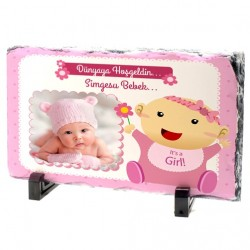 Kız Bebeklere Özel Fotoğraflı Taş Baskı - Thumbnail