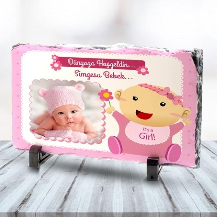 Kız Bebeklere Özel Fotoğraflı Taş Baskı