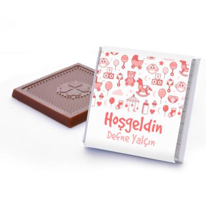 Kız Bebeklere Özel Hoşgeldin Çikolatası - Thumbnail