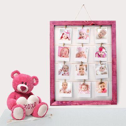 - Kız Bebeklere Özel Pembe İpli ve Mandallı Çerçeve