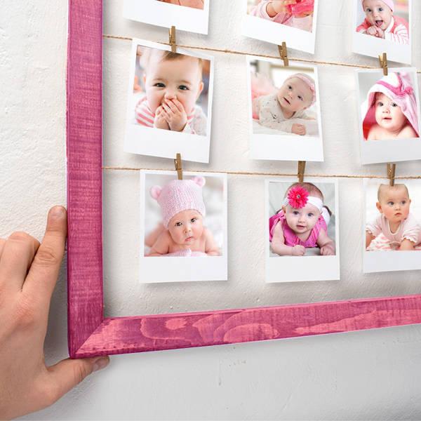 Kız Bebeklere Özel Pembe İpli ve Mandallı Çerçeve
