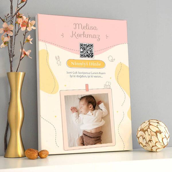 Kız Bebeklere Özel Ses İzi Kanvas Tablo