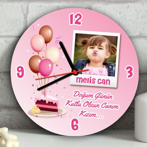 Kız Çocuklara Özel Doğum Günü Duvar Saati