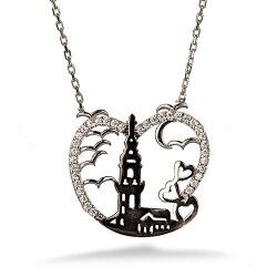 Kız Kulesi Gümüş Kolye - Thumbnail