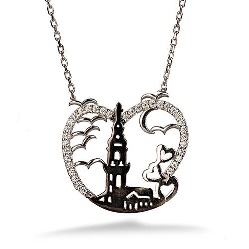Kız Kulesi Gümüş Kolye