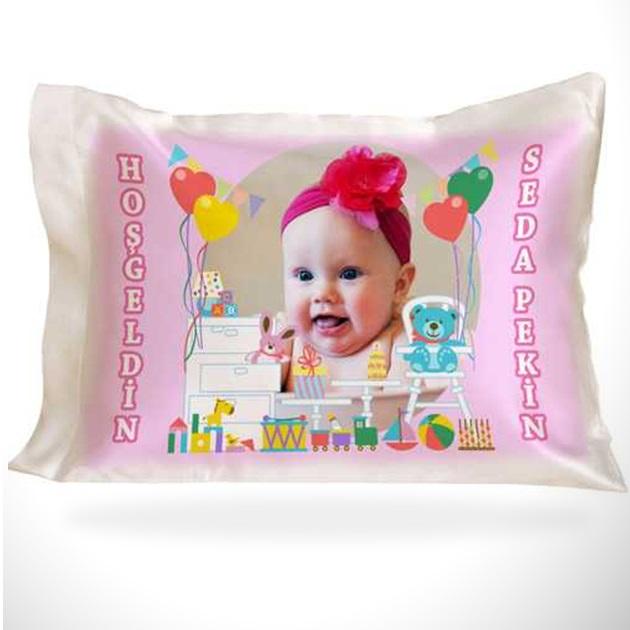 Kız Bebeklere Özel Fotoğraflı Yastık