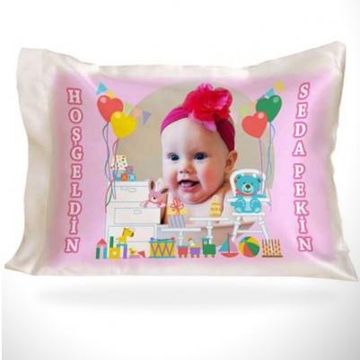 Kız Bebeklere Özel Fotoğraflı Yastık - Thumbnail