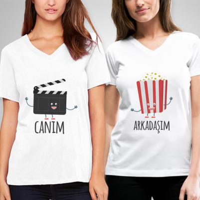 - Klaket ve Popcorn Arkadaş Tişörtü