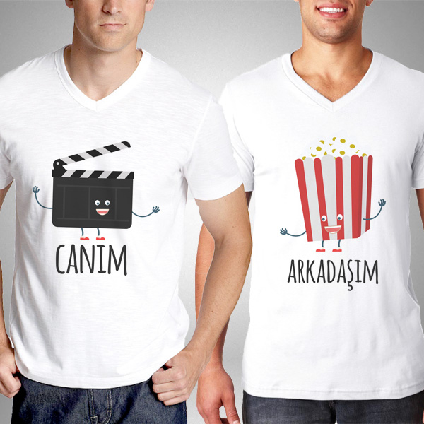 Klaket ve Popcorn Erkek Arkadaş Tişörtü